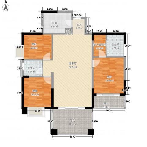鲁能星城一街区3室1厅2卫1厨132.00㎡户型图