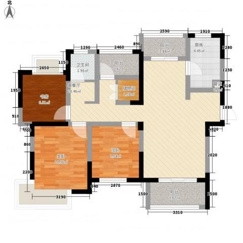 融绿理想湾3室1厅1卫1厨104.00㎡户型图