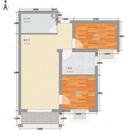 金域名邸2室1厅1卫1厨78.00㎡户型图