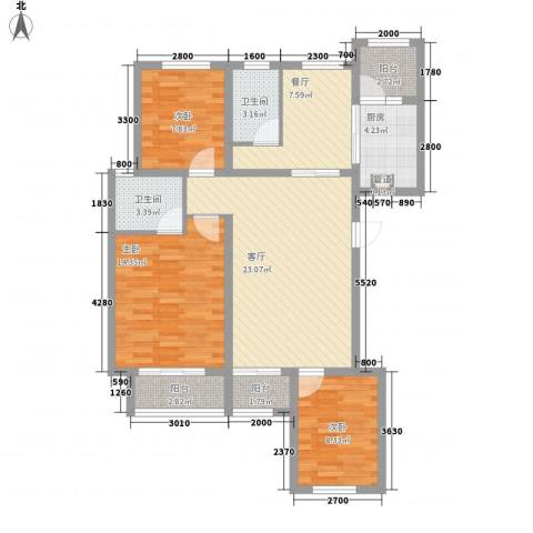 金域名邸3室2厅2卫1厨118.00㎡户型图