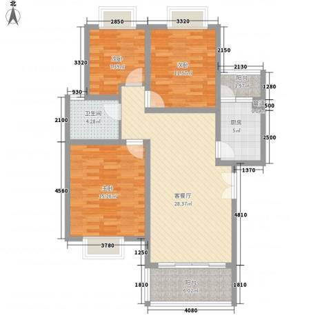 兴隆城市花园二期3室1厅1卫1厨99.00㎡户型图