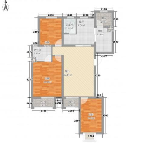金域名邸3室2厅2卫1厨125.00㎡户型图