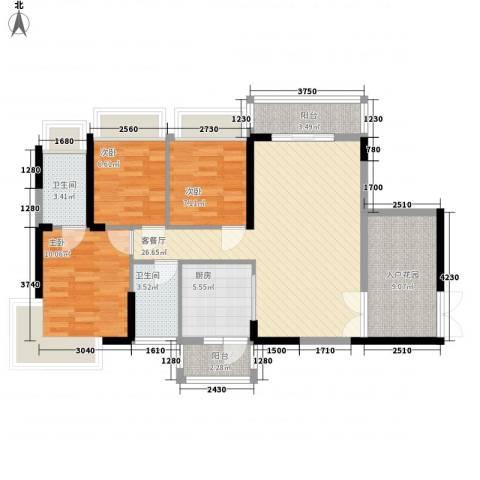 新时代家园3室1厅2卫1厨91.00㎡户型图
