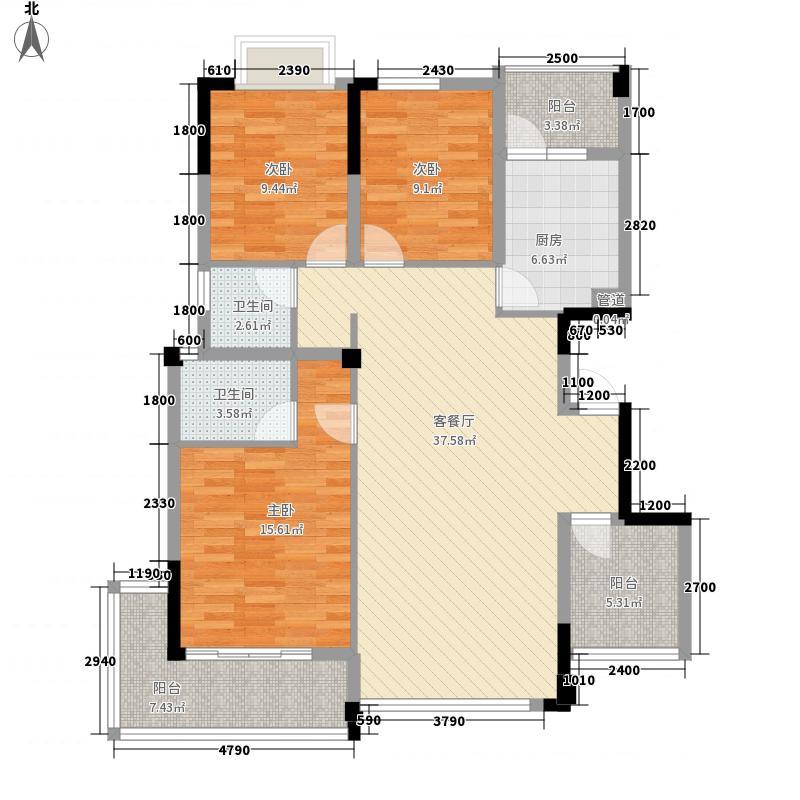 联发尚品116.20㎡3期8号楼K户型3室2厅2卫1厨