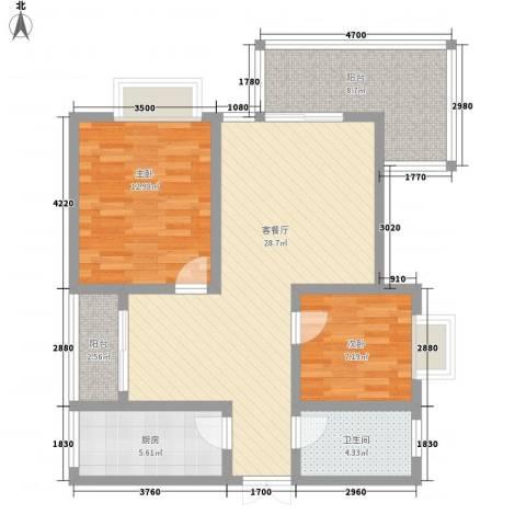 兴隆城市花园二期2室1厅1卫1厨88.00㎡户型图