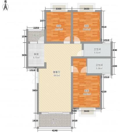 兴隆城市花园二期3室1厅2卫0厨121.00㎡户型图