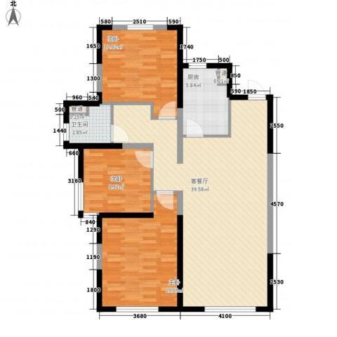 万科・润园3室1厅1卫1厨115.00㎡户型图