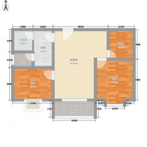 赤岗路大院3室0厅1卫1厨80.00㎡户型图