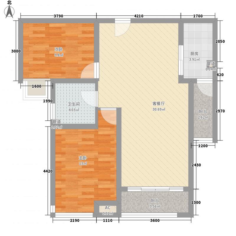 湖柏山庄58.00㎡湖柏山庄2室户型2室