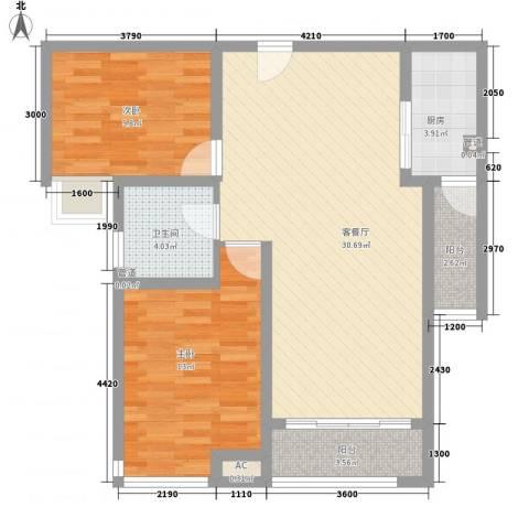 湖柏山庄2室1厅1卫1厨67.97㎡户型图