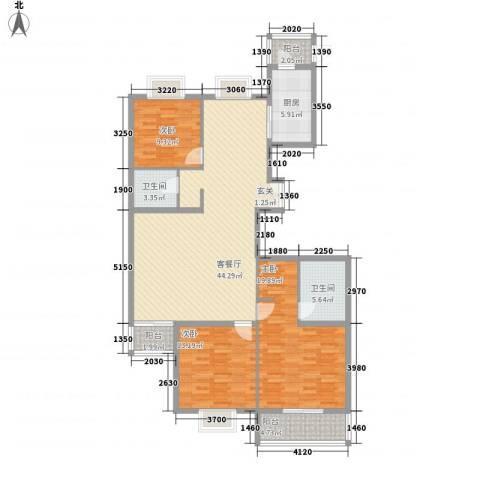 御庭・华府3室1厅2卫1厨157.00㎡户型图