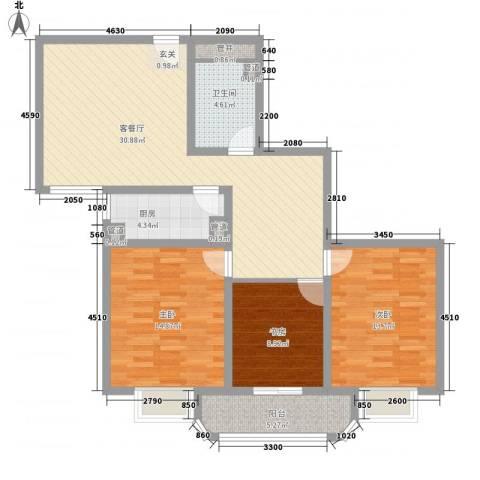 滨河小区3室1厅1卫1厨97.00㎡户型图