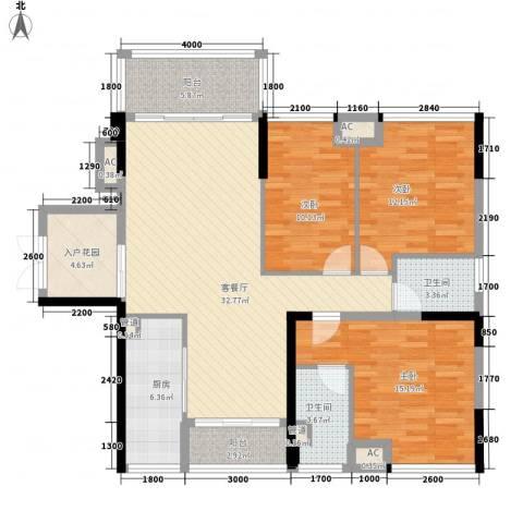 盈拓郦苑3室1厅2卫1厨110.00㎡户型图
