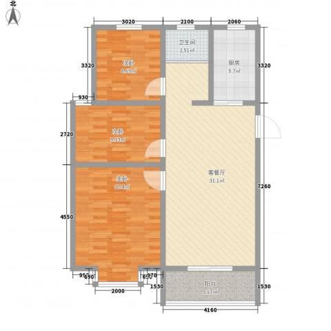 怡华香缇丽舍3室1厅1卫1厨98.00㎡户型图