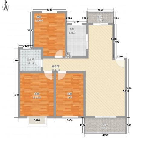 怡华香缇丽舍3室1厅1卫1厨114.00㎡户型图