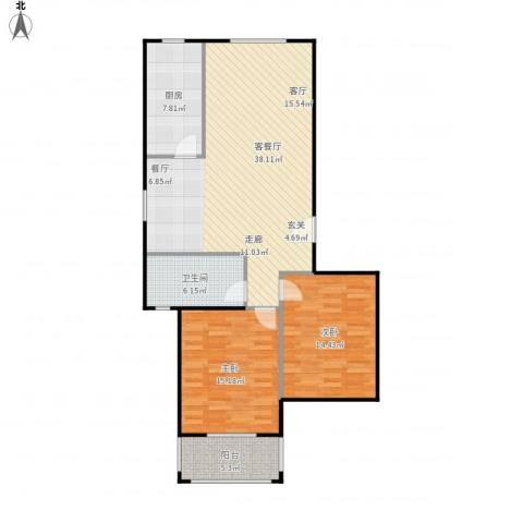 金羚嘉和馨园二期2室1厅1卫1厨116.00㎡户型图