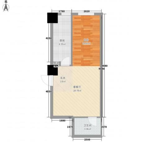 海�蓝寓1厅1卫1厨54.00㎡户型图