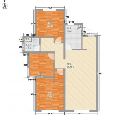 万科・润园3室1厅1卫1厨116.00㎡户型图