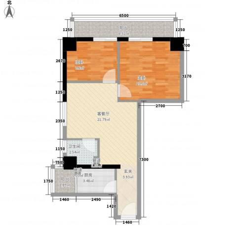 海�蓝寓2室1厅1卫1厨81.00㎡户型图