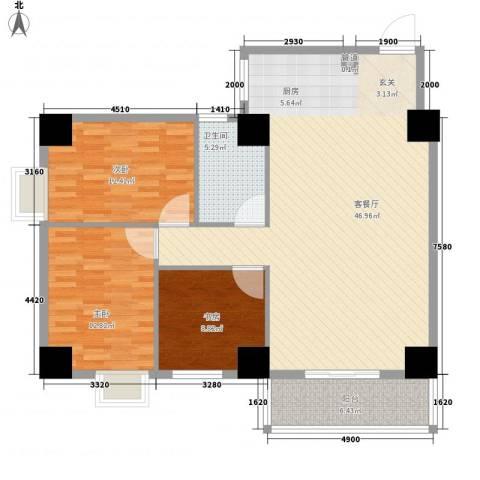 海�蓝寓3室1厅1卫0厨131.00㎡户型图