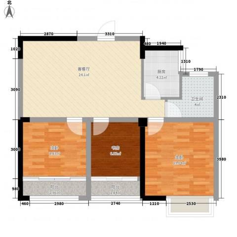 德民旺角3室1厅1卫1厨95.00㎡户型图
