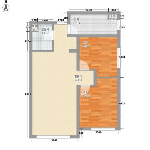 万科・润园2室1厅1卫1厨83.00㎡户型图