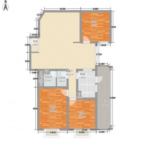 滨河小区3室1厅2卫1厨115.00㎡户型图