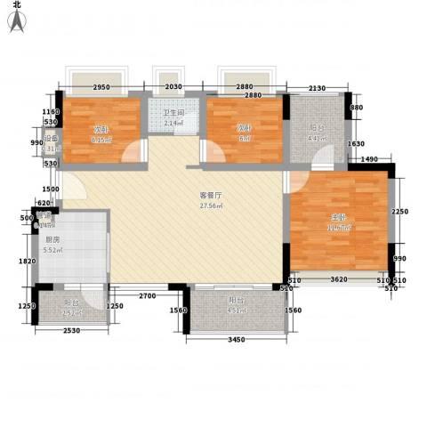 金马香颂居3室1厅1卫1厨104.00㎡户型图