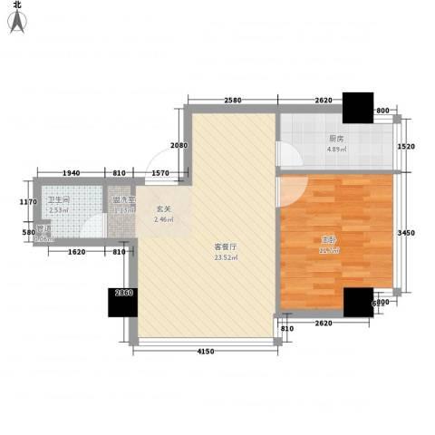 海�蓝寓1室1厅1卫1厨58.00㎡户型图