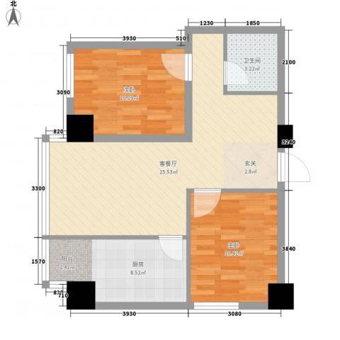 海�蓝寓2室1厅1卫1厨79.00㎡户型图