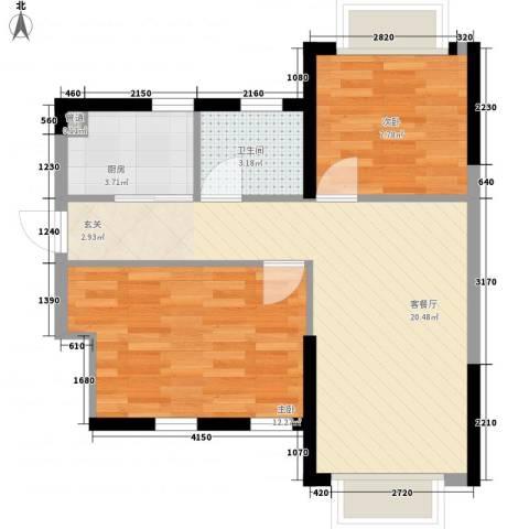 联邦花园2室1厅1卫1厨68.00㎡户型图