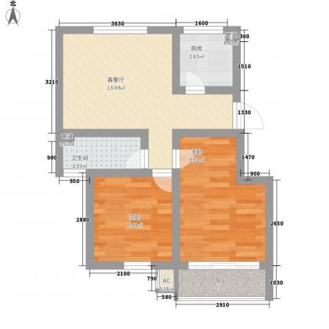 通泗街坊2室1厅1卫1厨55.00㎡户型图