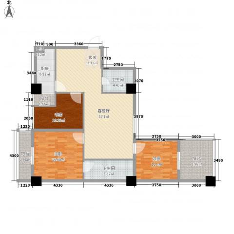 海�蓝寓3室1厅2卫1厨146.00㎡户型图