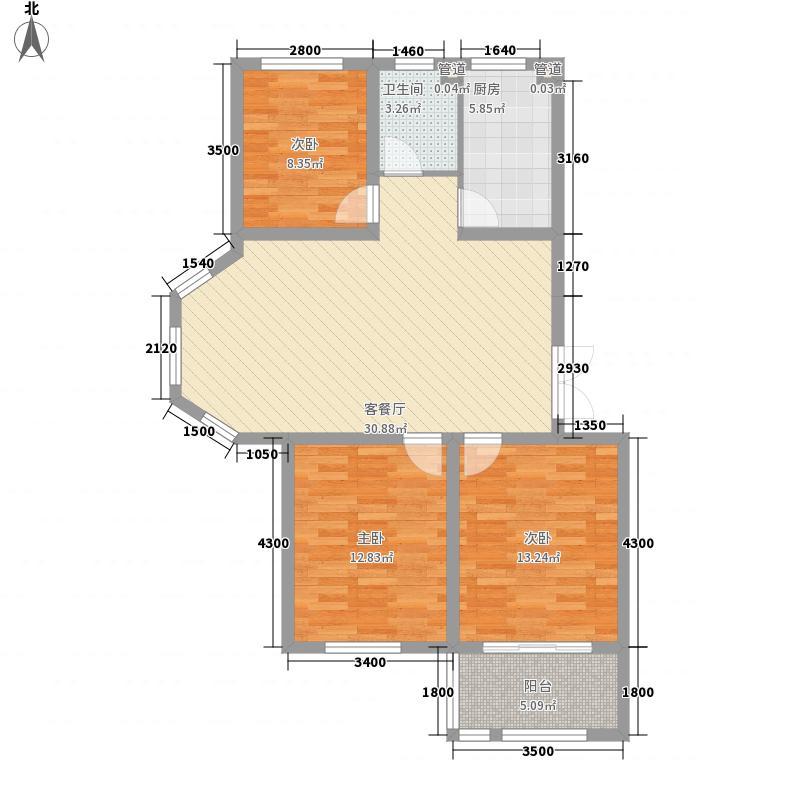 泓宇申林公馆15.00㎡F户型3室2厅1卫1厨