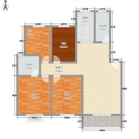 怡华香缇丽舍4室1厅2卫1厨140.00㎡户型图
