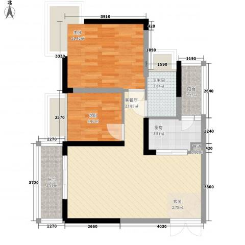 新时代家园2室1厅1卫1厨70.00㎡户型图