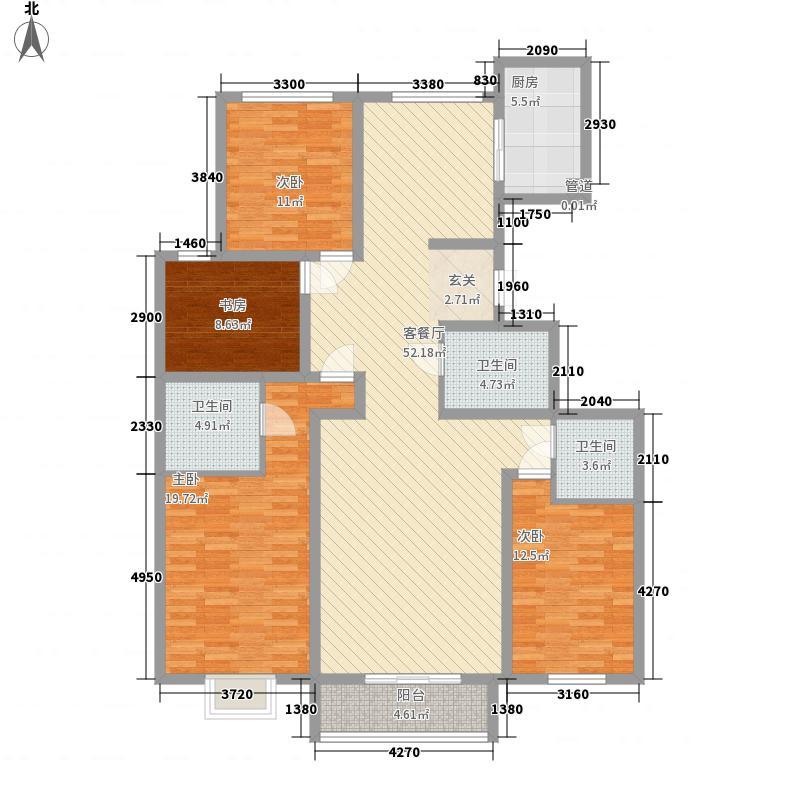 宝湖天下176.00㎡17#P户型4室2厅2卫1厨