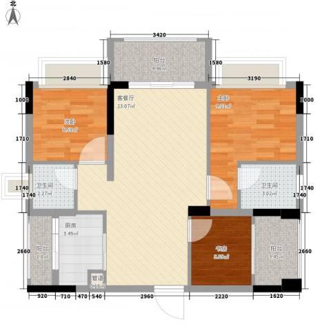 金马香颂居3室1厅2卫1厨92.00㎡户型图
