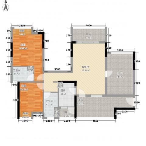 大朗怡景花园2室1厅2卫1厨116.00㎡户型图