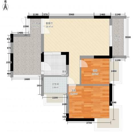 新时代家园2室1厅1卫1厨69.00㎡户型图