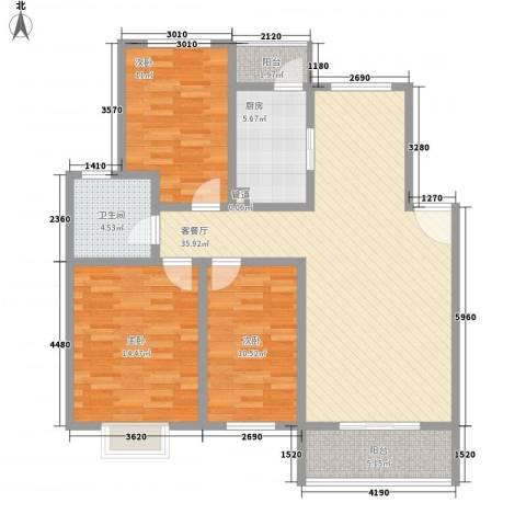 怡华香缇丽舍3室1厅1卫1厨112.00㎡户型图