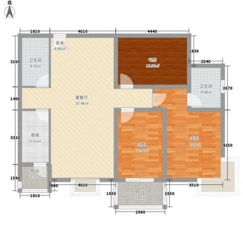 御庭・华府3室1厅2卫1厨138.00㎡户型图