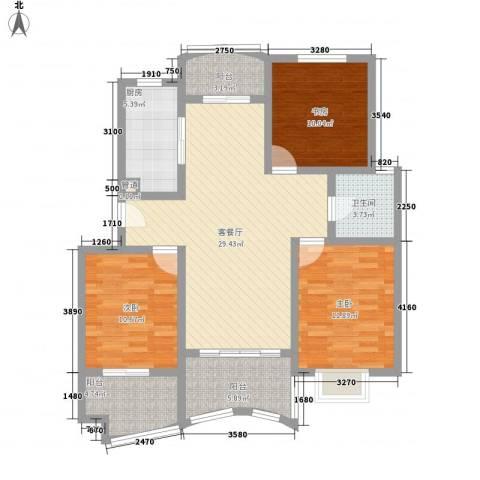 景城名轩3室1厅1卫1厨124.00㎡户型图