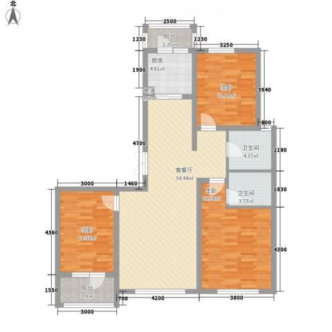 天源秀景3室1厅2卫1厨110.00㎡户型图
