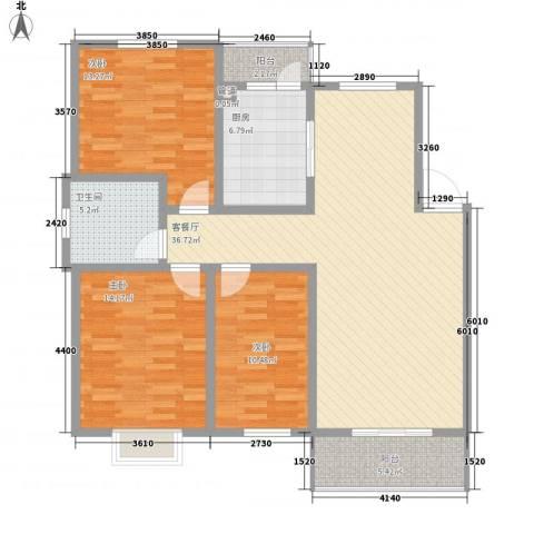 怡华香缇丽舍3室1厅1卫1厨118.00㎡户型图