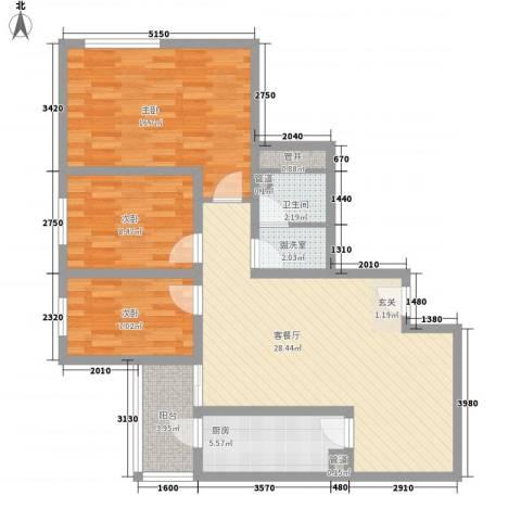 滨河小区3室1厅1卫1厨88.05㎡户型图