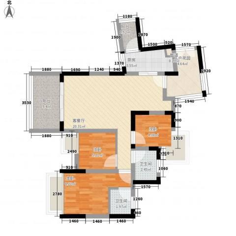 幸福枫景花园3室1厅2卫1厨90.00㎡户型图