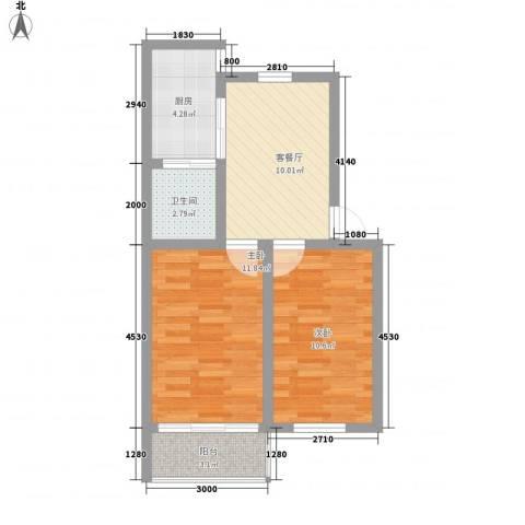鹤鸣小区2室1厅1卫1厨63.00㎡户型图