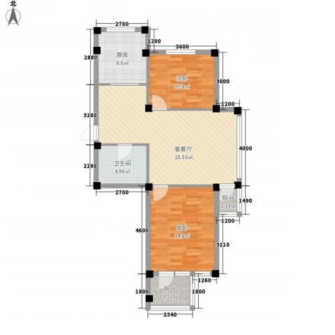 金润花园三期2室1厅1卫1厨76.00㎡户型图