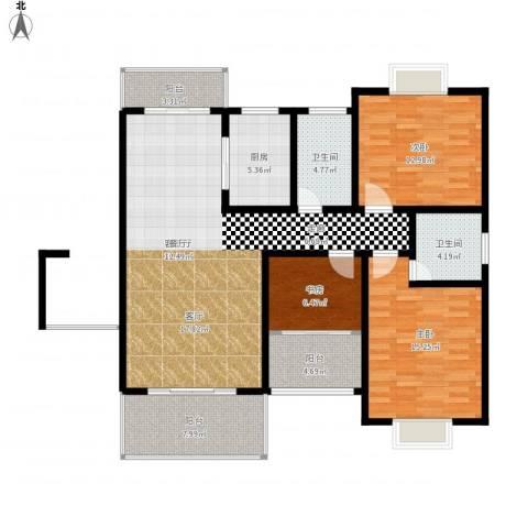 名扬鑫城3室1厅2卫1厨144.00㎡户型图